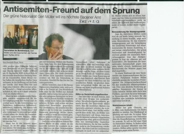 Geri Müller, Antisemitenfreund